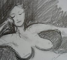 Nude - charcoal on linen paper by ChristineBetts