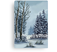 Winter wonderland after Bob Ross Canvas Print