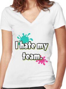 I hate my team (Splatoon) Women's Fitted V-Neck T-Shirt