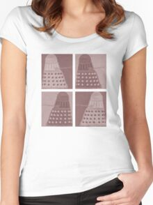 Daleks in negatives - brown Women's Fitted Scoop T-Shirt