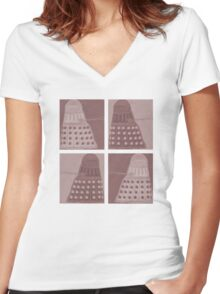 Daleks in negatives - brown Women's Fitted V-Neck T-Shirt