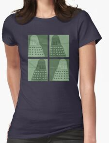 Daleks in negatives - green Womens Fitted T-Shirt