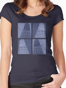 Daleks in negatives - blue Women's Fitted Scoop T-Shirt