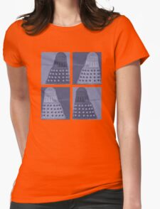 Daleks in negatives - blue Womens Fitted T-Shirt