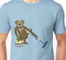 Chocolate Lab Curling Unisex T-Shirt