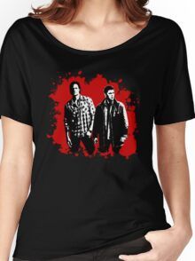 Sam and Dean Winchester on Red Women's Relaxed Fit T-Shirt