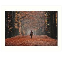 Riding in the magic of late autumn Art Print