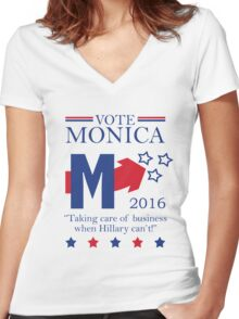 Vote Monica in 2016 Women's Fitted V-Neck T-Shirt