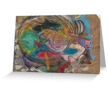 world head on paper bag Greeting Card