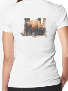 Yellowstone Snow Storm Women's Fitted V-Neck T-Shirt