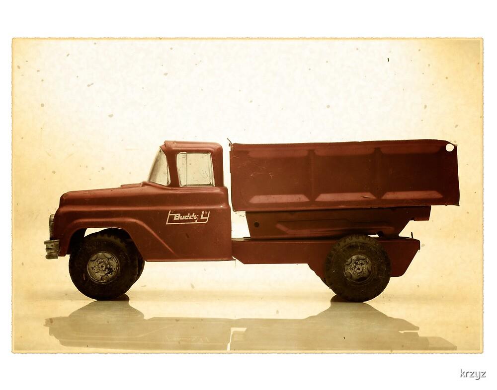 Red antique toy truck by krzyz