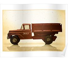 Red antique toy truck Poster