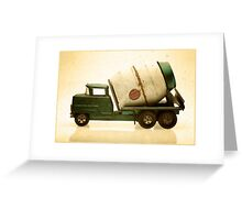 Green antique toy cement truck Greeting Card