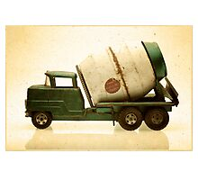 Green antique toy cement truck Photographic Print