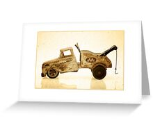 White antique toy tow truck Greeting Card