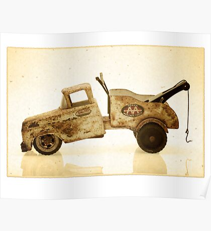 White antique toy tow truck Poster