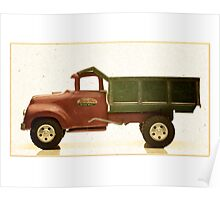 Green and red antique toy dump truck Poster