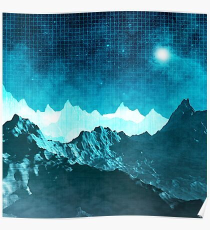 Outer Space Mountains Poster