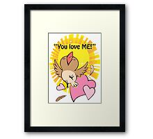 Little happy bird saying you love me! Framed Print