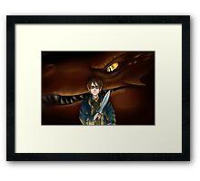 Bilbo Baggins and Smaug Framed Print