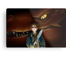 Bilbo Baggins and Smaug Metal Print