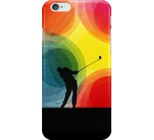 Colorful Retro Silhouette Golfer iPhone Case/Skin