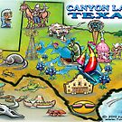 Canyon Lake Texas Cartoon Map by Kevin Middleton