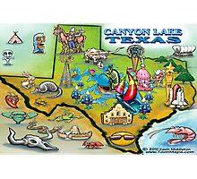Canyon Lake Texas Cartoon Map Photographic Print