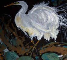 Egret - guarding her nest - new life by Margaret Morgan (Watkins)