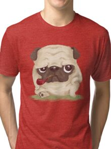 Pug which held the pipe in its mouth Tri-blend T-Shirt