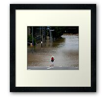 "Brisbane floods - Cultural Centre, South Brisbane or ""How do I get to my Latte!"" Framed Print"