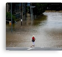 "Brisbane floods - Cultural Centre, South Brisbane or ""How do I get to my Latte!"" Canvas Print"