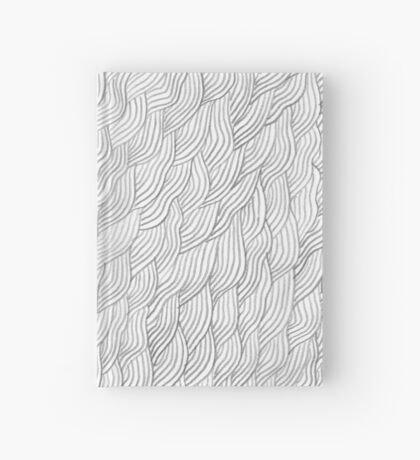 Grayscale Pencil Doodle Waves Hardcover Journal
