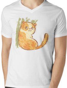 Smile of fat cat Mens V-Neck T-Shirt