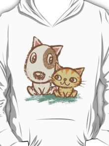 Dog and cat with good relations T-Shirt