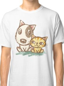 Dog and cat with good relations Classic T-Shirt