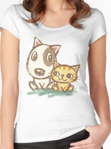 Dog and cat with good relations Women's Fitted Scoop T-Shirt