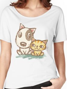 Dog and cat with good relations Women's Relaxed Fit T-Shirt