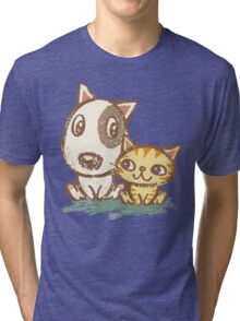 Dog and cat with good relations Tri-blend T-Shirt