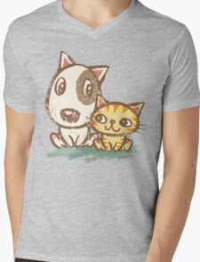 Dog and cat with good relations Mens V-Neck T-Shirt