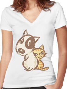 Dog and cat are turning around Women's Fitted V-Neck T-Shirt