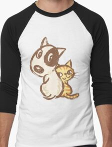 Dog and cat are turning around Men's Baseball ¾ T-Shirt