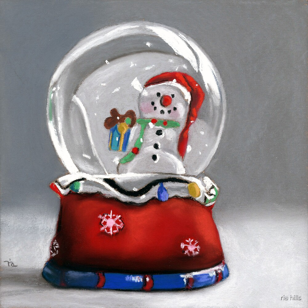 Snow globe - christmas painting by ria hills