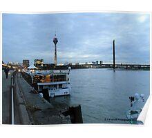 Dusseldorf Tower and Bridge on the Rhine Dusseldorf DE Poster
