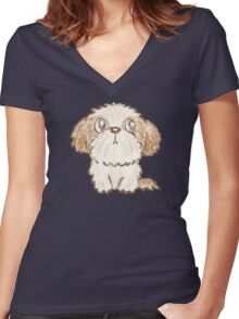 Shih Tzu puppy Women's Fitted V-Neck T-Shirt