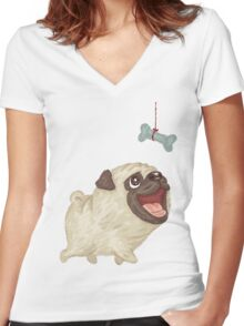 Happy Pug and bone Women's Fitted V-Neck T-Shirt