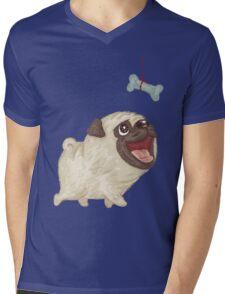 Happy Pug and bone Mens V-Neck T-Shirt