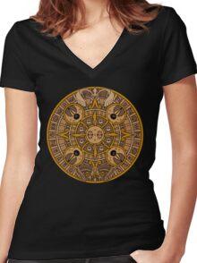 Pokemon Mayan Calendar Women's Fitted V-Neck T-Shirt
