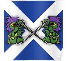 Fighting Saltire Thistles Poster