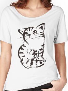 sketch of cat looks up Women's Relaxed Fit T-Shirt